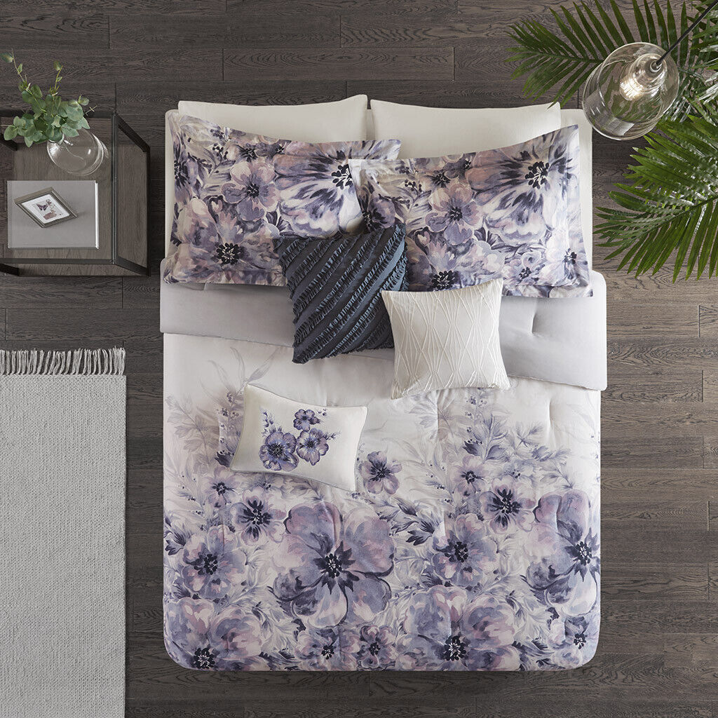 BEAUTIFUL MODERN viola LAVENDER grigio ABSTRACT FLOWER ART SOFT COMFORTER SET