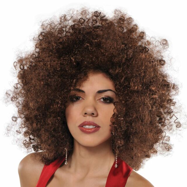 70s Brown Afro Wig Adult Fancy Dress Groovy Disco Ladies 1970s Costume  Accessory 528db2fed34b