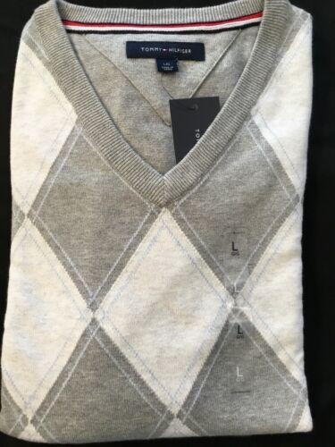 Tommy Hilfiger Mens Sweater Argyle Pullover V-neck Diamond Pattern Knit NWTs