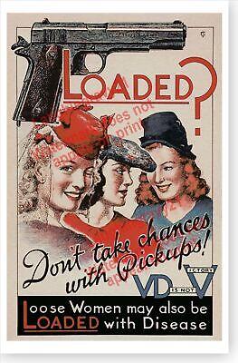 Retro WW II Loose Women Loaded With VD Venereal Disease 45 Auto World War  Poster | eBay
