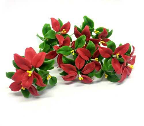 Dollhouse Miniature Flower Set 5 Poinsettia Christmas Clay Plant Handcraft Decor