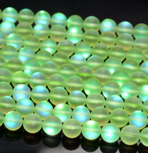 "Glass Gemstone Round Loose Beads 15/"" 6MM Green Frosted Matte Mystic Aura Quartz"