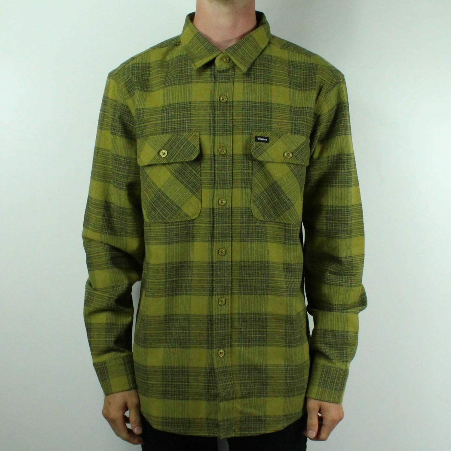 Brixton Bowery L S Flannel Long Sleeve Smart Shirt  – Avacado in Size S M L