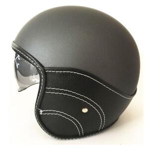 DOT-Vintage-Motorcycle-Helmet-Open-Face-Scooter-Half-Helmet-Integrated-Sun-Visor