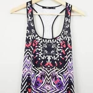 SPORTSGIRL-Womens-Racer-Back-Print-Maxi-Dress-Size-L-or-AU-14