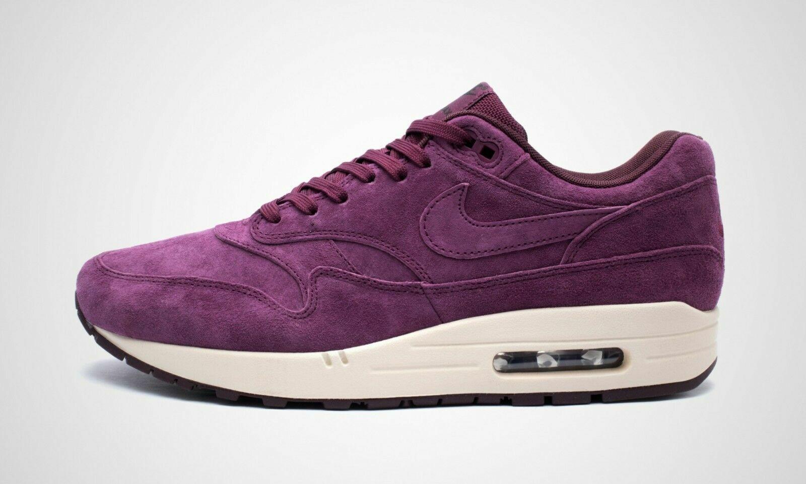 Nike Air Max 1 Premium Suede Men's Run Training Shoes BordeauxPurple 875844 602