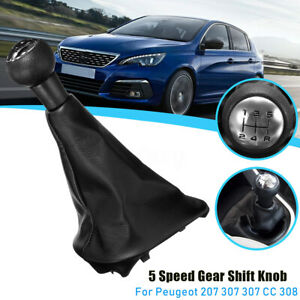 5-Speed-PU-Leather-Car-Gear-Shift-Knob-w-Gaitor-For-Peugeot-207-307-307-CC-308