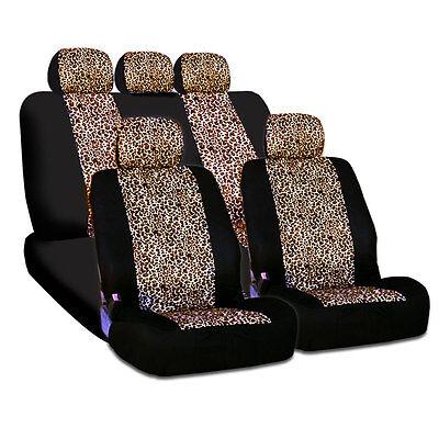 New Design Safari Cheetah Print Universal Car Truck Seat Cover Smart Pocket Set
