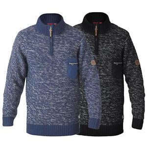 Mens-Jumper-D555-Duke-Big-King-Size-Knitted-Sweater-Pullover-Zip-Top-Winter-Warm