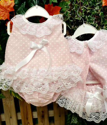 DREAM 0-7 YEARS BABY GIRLS PINK SPOT SPANISH PUFFBALL LINED DRESS