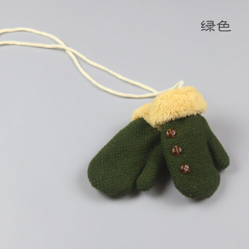 Boys Girls Winter Fashion Warm Knitted Gloves Thick Glove with Neck String