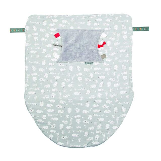 Cheeky Chompers Cheeky Blanket - Soft Fleece Hand and Foot Pouch and Sensory Tag