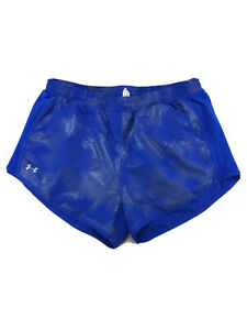 Under-Armour-Women-039-s-Blue-Fly-By-Printed-Lined-Mesh-Running-Shorts-Sz-L