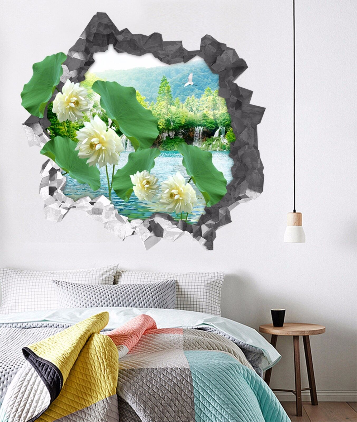 3D Fiori Del Lago Puro 297 Parete Murales Parete Adesivi Decal Sfondamento IT