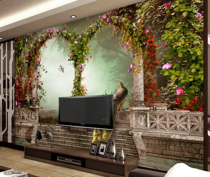 3D Flower Vine Pillars Paper Wall Print Wall Decal Wall Deco Indoor Wall Murals