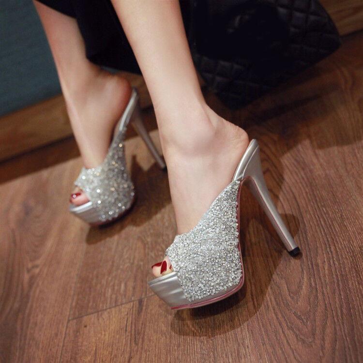 Womens Pumps Peep Toes Platform High Stilettos Heels Slip On Shoes Mules Plus Sz
