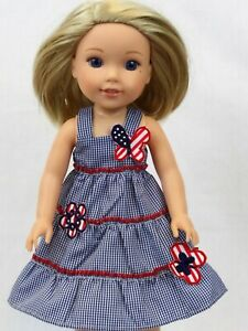 "14.5/"" Doll Clothes-fit American Girl-Wellie Wishers-Dress-Floral Blues"