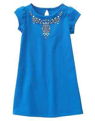 GYMBOREE Royal Blue Gem Applique Knit Ponte Sheath Party Dress Size 4 5 7 NWT