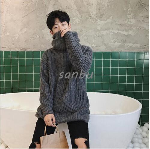 Mens High Collar Sweaters Korean Fashion Knitwear Thick Loose Casual Warm Korean