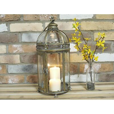 Vintage Moroccan Garden Lantern & Bracket Candle Holder Hanging Metal Lamp Patio