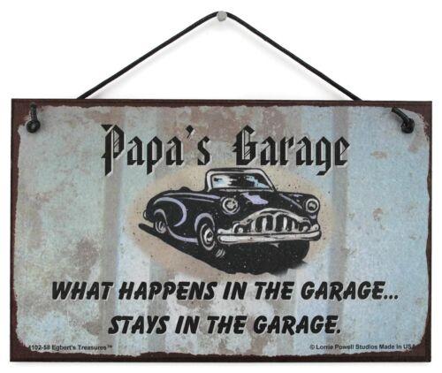 5x8 Papa's Garage Sign What Happens Stays Grandpa Grandfather Classic Car vtg 1