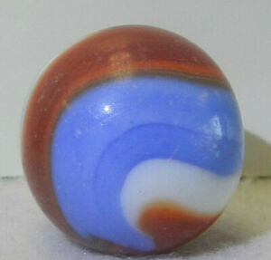 8629m Vintage Akro Agate Red White and Blue Shooter Corkscrew Marble .85 Inches
