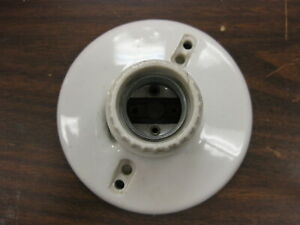 Antique-Vintage-Ceramic-Porcelain-Light-Socket-250V-LEVITON-9816-X