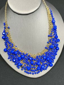 Vintage-Royal-Blue-Gold-Bohemian-Heavily-Beaded-Fun-Bib-Statement-Necklace-16