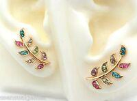 Gold Ear Cuff Pins Trails Up Lobe Earrings Wrap Pair Leaf Crystals