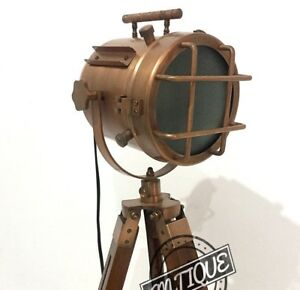 Copper-Head-lamp-tripod-Night-lamp-Wooden-adjustable-stand-lamps-Lighting-Decors