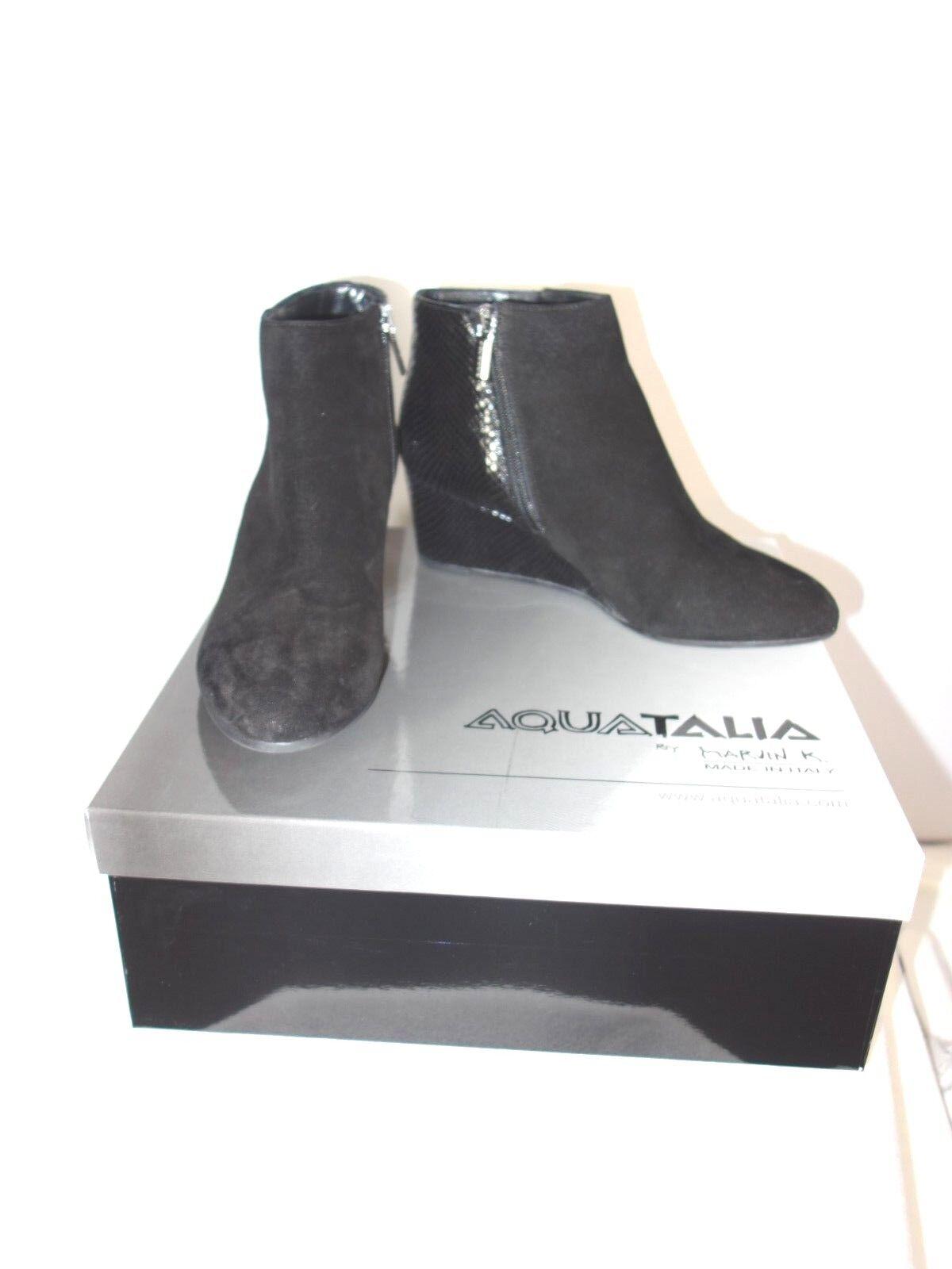 Aquatalia Weatherproof Judith Suede Biscia Black Ankle Boots Size 8 M -