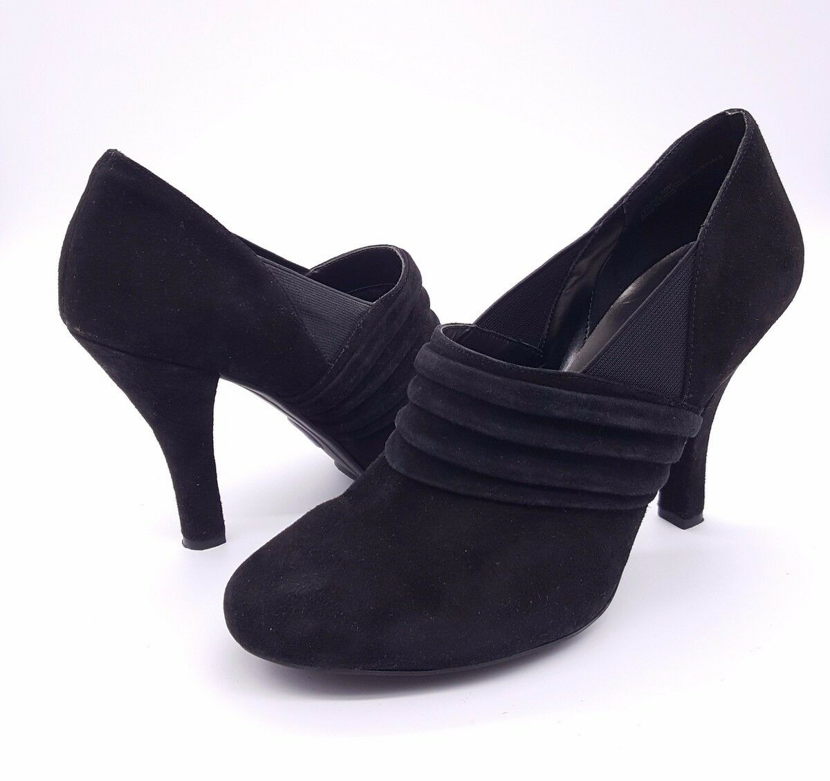 ME TOO Size 11 Black Suede Slip On Round Closed Toe Ankle Bootie Pump Shoes