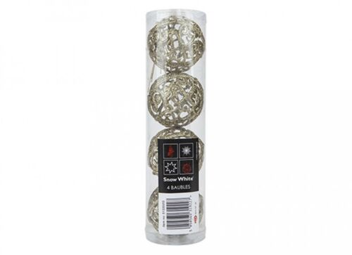 New Pack of 4 Glitter Christmas Balls Baubles Xmas Tree Hanging Ornament Decor