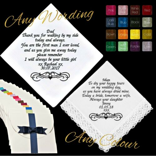 GIFT BOXED EMBROIDERED PERSONALISED HANDKERCHIEF WEDDING POEM MESSAGE MUM DAD