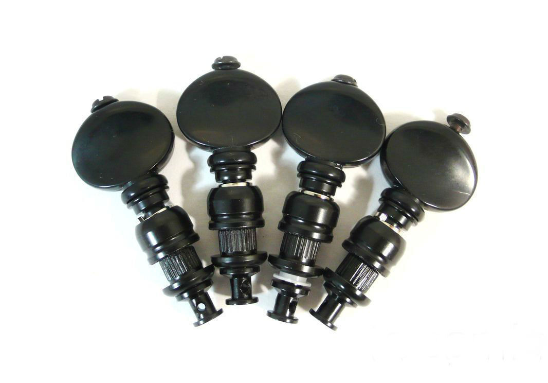 10 juegos de cabeza de máquina de ukelele Plateado Plateado Plateado Negro Sintonizador de fricción Botón Negro 229BX-UB 219ae0