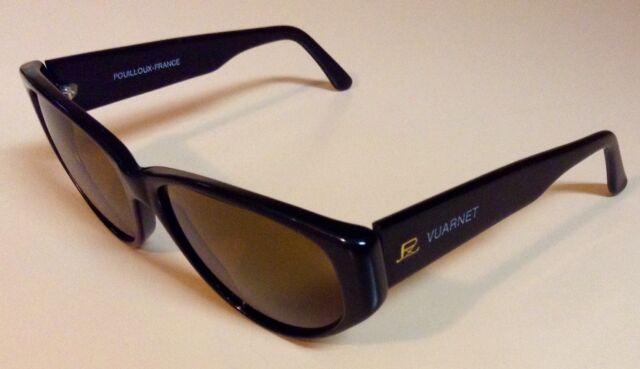 7cba4ef15323 Vintage VUARNET 090 Pouilloux-France Sunglasses - Black Frame Amber  Lenses Case