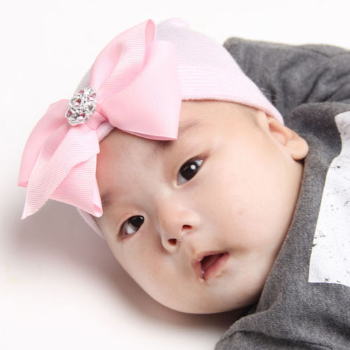 Newborn Pink for Baby Infant Girl Bowknot Diomand Hospital Cap Beanie Hat FSCG$
