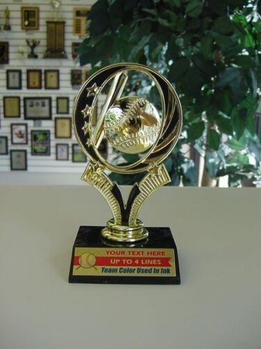 Little League Baseball  or Softball Trophy Award Team Color Added to Plate!