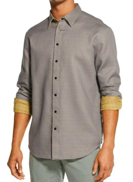 DKNY Mens Shirt Yellow Gray Size Small S Button Down Reversible Plaid $89 #272