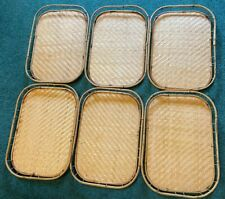 Details about  /Lot of 4 Vintage Bamboo Woven Rattan Wicker Tiki Bar Serving Trays 19 x 13.