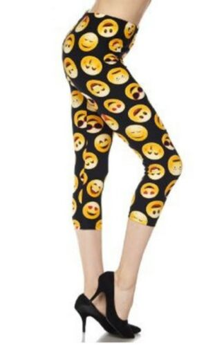 Emoji Print Buttery Peach Skin Soft Leggings Available in 8 Sizes Adults Kids
