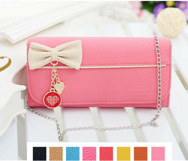 New Long Lady Girl Purse Bow Style women's PU Leather Wallet Handbag Gift Bag