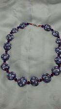 Rare  Native American Navajo 6 color chevron blue art glass trade bead necklace