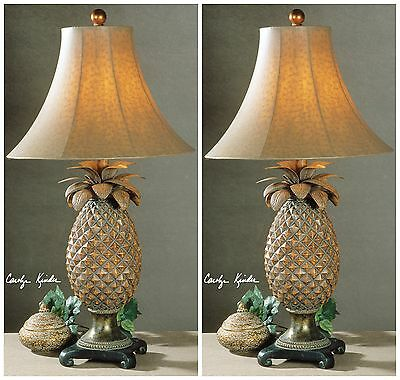TWO HAND RUBBED BROWN GLAZED PINEAPPLE TABLE LAMPS BRONZE ACCENTS OSTRICH SHADES