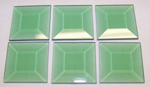 Stained Glass 1.5 x 1.5 green square bevels 6 pack