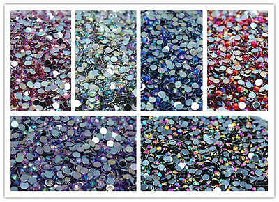 500PCS Luxury Colorful Flat Back Nail Crystal Rhinestones Facets Resin Beads ^^