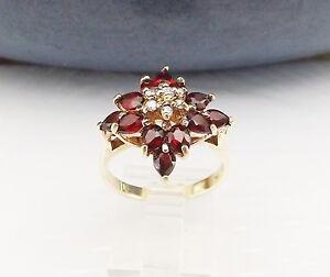 Garnet-Gemstone-14K-Gold-Over-Sterling-Silver-CZ-Designer-Cluster-Size-8-Ring