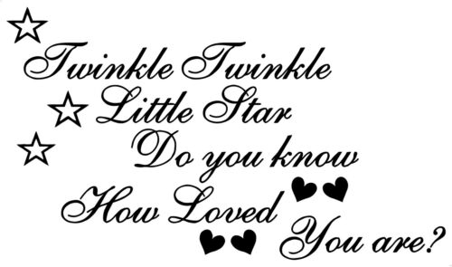 Twinkle Star Love Nursery Baby Children/'s Bedroom Decal Wall Art Sticker Picture