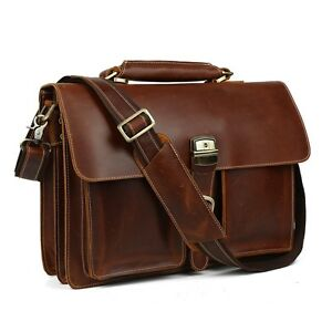 c05a1ebe1f66 Gents Men Thick Leather Briefcase 15