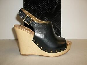 98f1fdf63fed8 Sam Edelman Size 10 M CAMILLA Black Leather Wedge Heel Sandals New ...